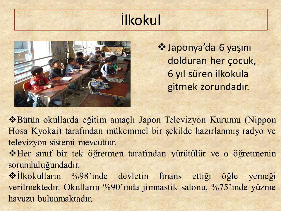 İlkokul Japonya'da 6 yaşını dolduran her çocuk, 6 yıl süren ilkokula gitmek zorundadır.