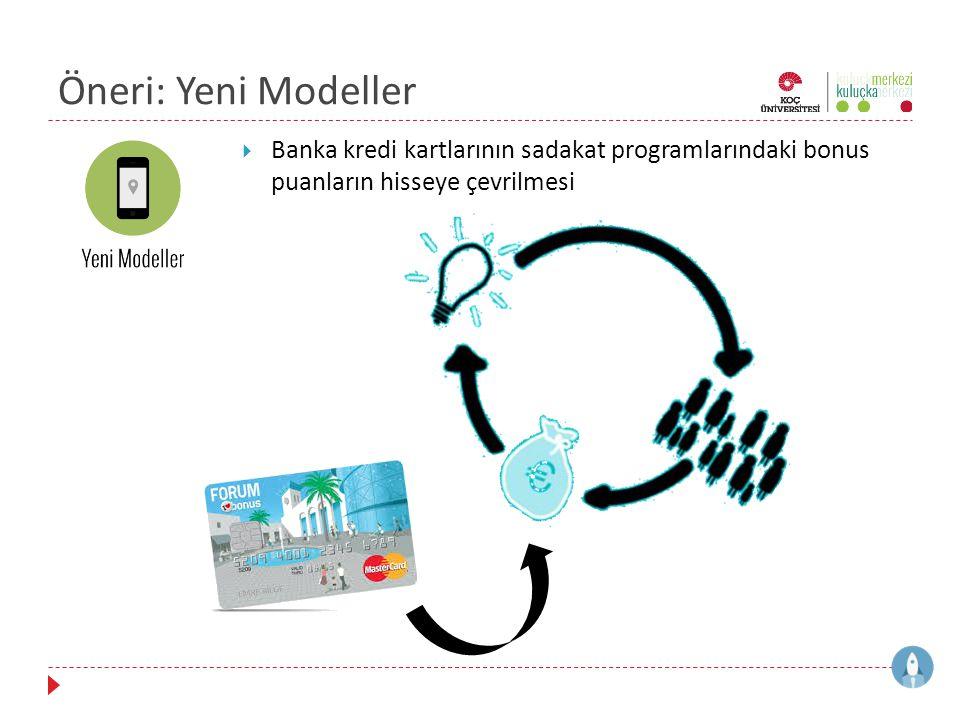 Öneri: Yeni Modeller Banka kredi kartlarının sadakat programlarındaki bonus puanların hisseye çevrilmesi.