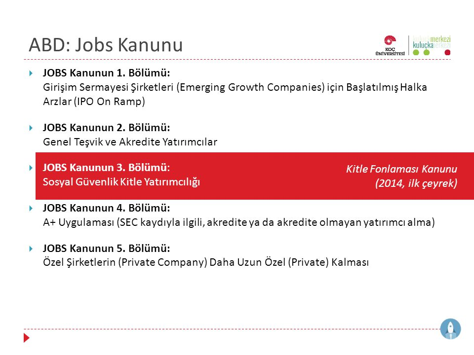 ABD: Jobs Kanunu JOBS Kanunun 1. Bölümü: Girişim Sermayesi Şirketleri (Emerging Growth Companies) için Başlatılmış Halka Arzlar (IPO On Ramp)