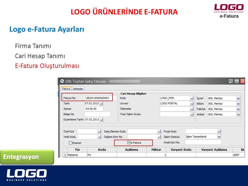 LOGO ÜRÜNLERİNDE E-FATURA