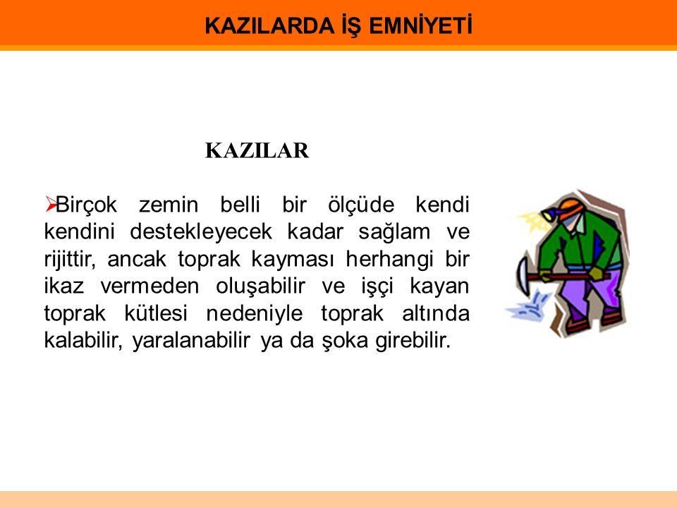 KAZILARDA İŞ EMNİYETİ KAZILAR.