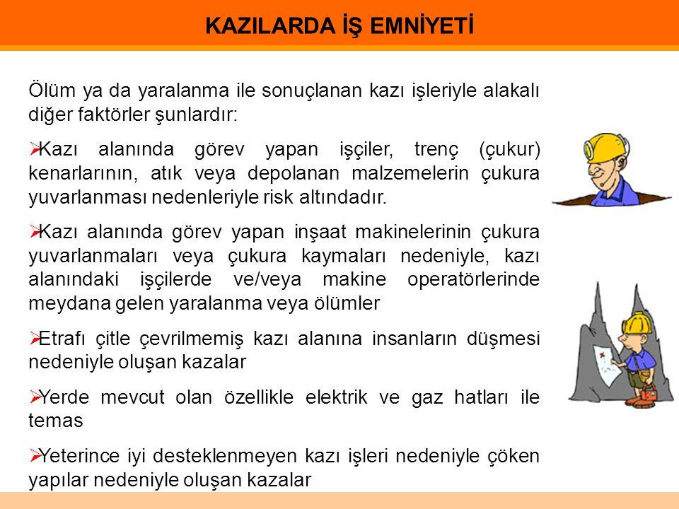 KAZILARDA İŞ EMNİYETİ Ölüm ya da yaralanma ile sonuçlanan kazı işleriyle alakalı diğer faktörler şunlardır: