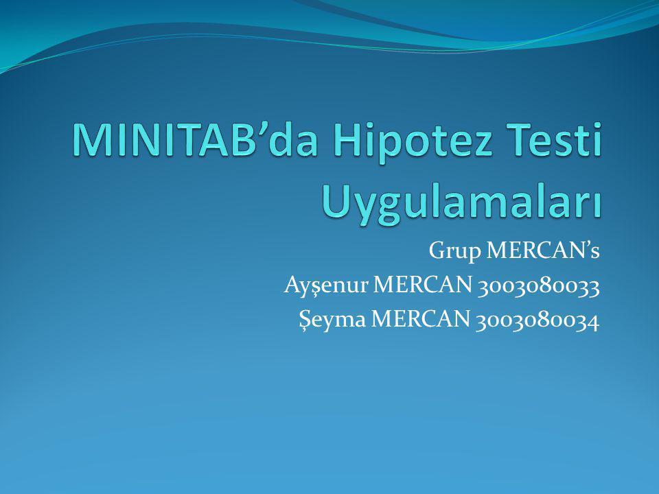 MINITAB'da Hipotez Testi Uygulamaları