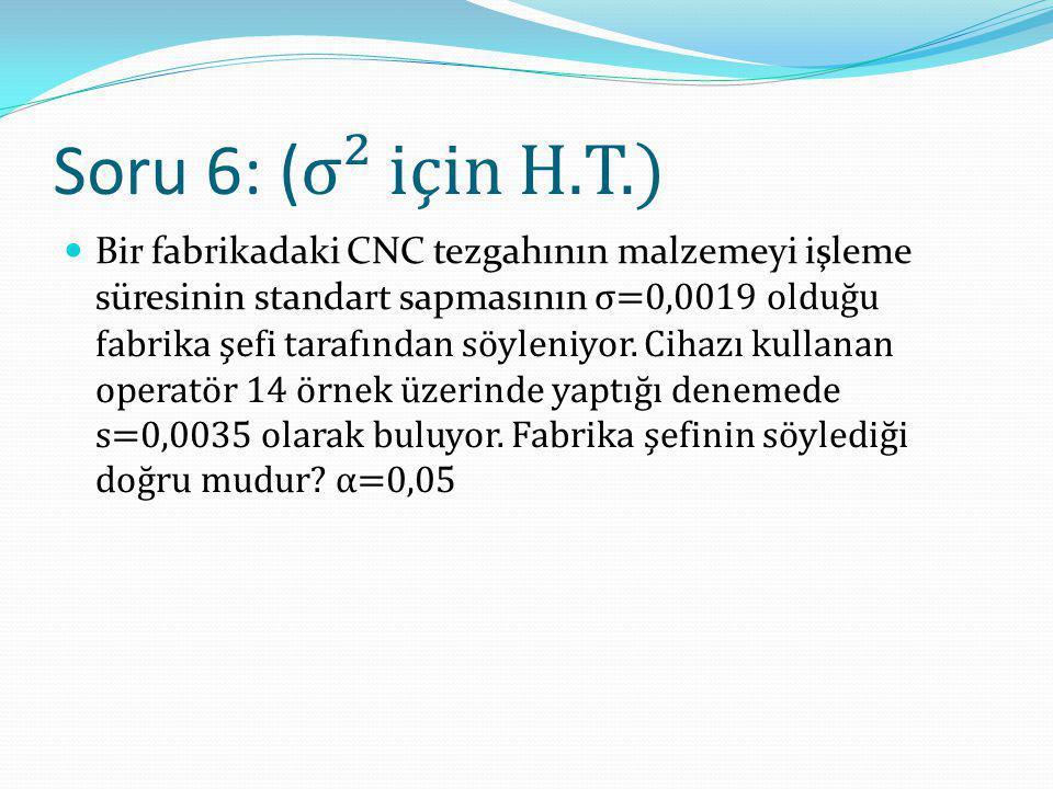 Soru 6: (σ² için H.T.)