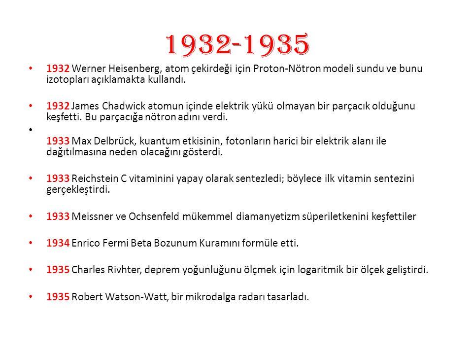 1932-1935 1932 Werner Heisenberg, atom çekirdeği için Proton-Nötron modeli sundu ve bunu izotopları açıklamakta kullandı.