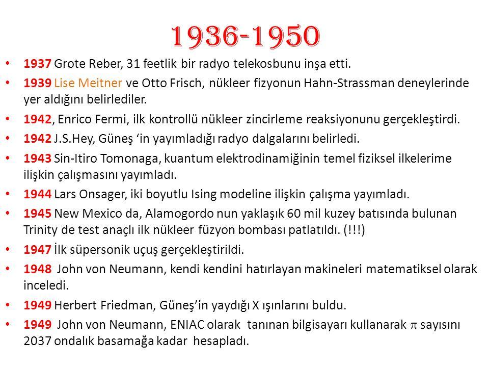 1936-1950 1937 Grote Reber, 31 feetlik bir radyo telekosbunu inşa etti.