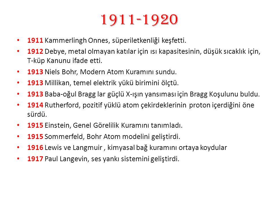 1911-1920 1911 Kammerlingh Onnes, süperiletkenliği keşfetti.