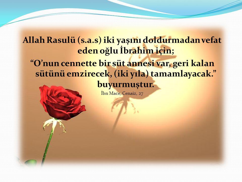 Allah Rasulü (s.a.s) iki yaşını doldurmadan vefat eden oğlu İbrahim için;