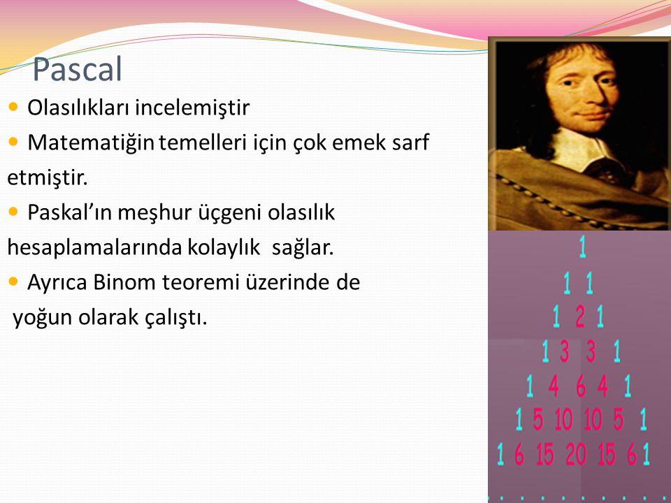 Pascal Olasılıkları incelemiştir