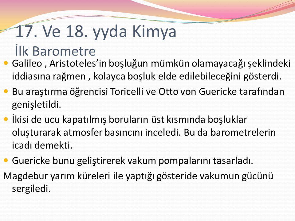 17. Ve 18. yyda Kimya İlk Barometre
