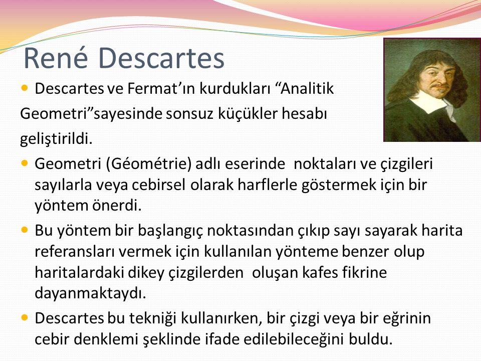 René Descartes Descartes ve Fermat'ın kurdukları Analitik
