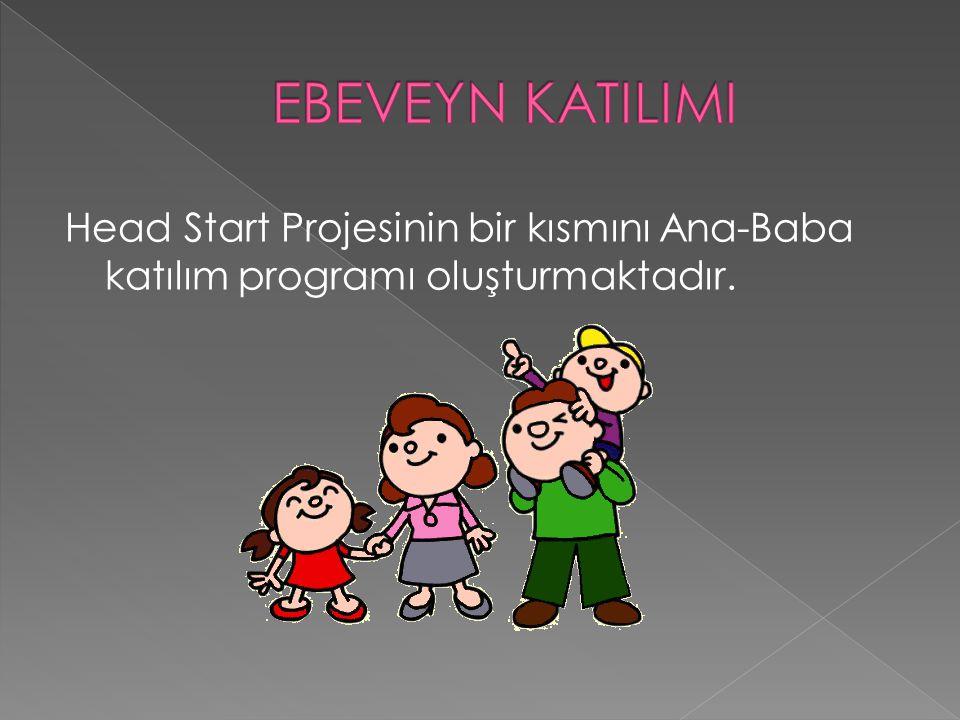 EBEVEYN KATILIMI Head Start Projesinin bir kısmını Ana-Baba katılım programı oluşturmaktadır.