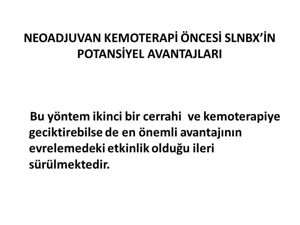 NEOADJUVAN KEMOTERAPİ ÖNCESİ SLNBX'İN POTANSİYEL AVANTAJLARI