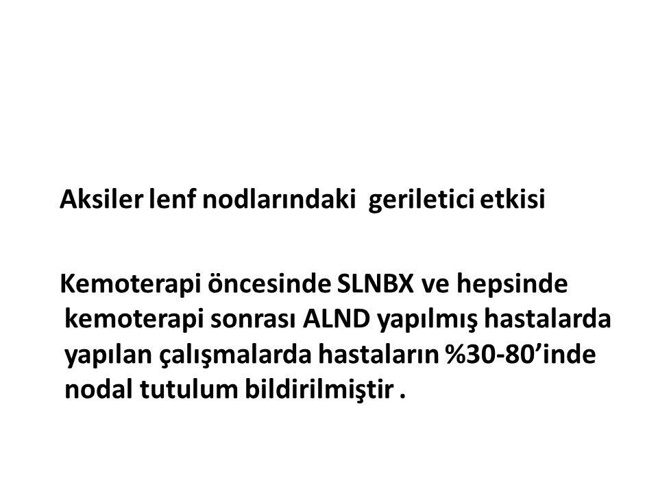 Aksiler lenf nodlarındaki geriletici etkisi Kemoterapi öncesinde SLNBX ve hepsinde kemoterapi sonrası ALND yapılmış hastalarda yapılan çalışmalarda hastaların %30-80'inde nodal tutulum bildirilmiştir .
