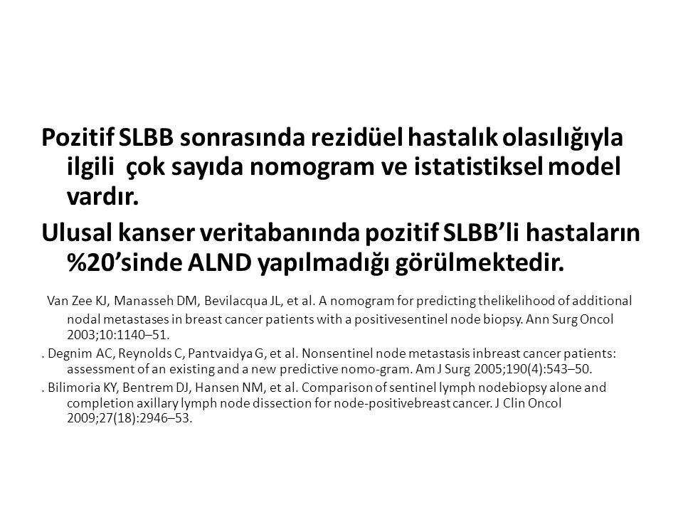 Pozitif SLBB sonrasında rezidüel hastalık olasılığıyla ilgili çok sayıda nomogram ve istatistiksel model vardır.