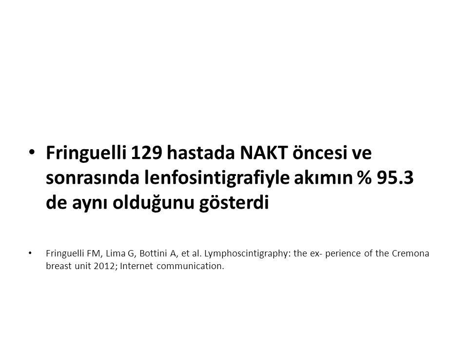 Fringuelli 129 hastada NAKT öncesi ve sonrasında lenfosintigrafiyle akımın % 95.3 de aynı olduğunu gösterdi