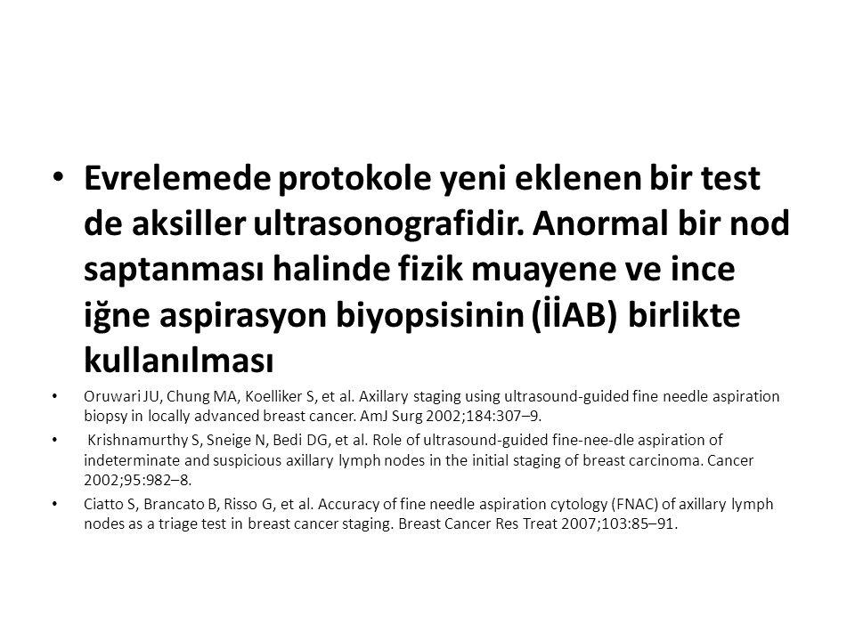 Evrelemede protokole yeni eklenen bir test de aksiller ultrasonografidir. Anormal bir nod saptanması halinde fizik muayene ve ince iğne aspirasyon biyopsisinin (İİAB) birlikte kullanılması
