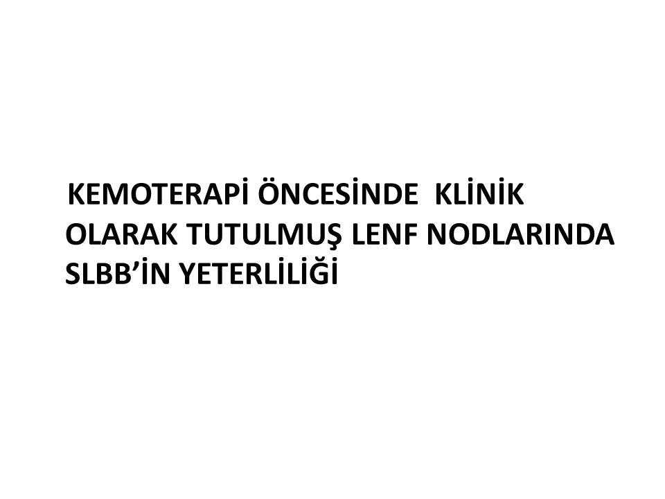 KEMOTERAPİ ÖNCESİNDE KLİNİK OLARAK TUTULMUŞ LENF NODLARINDA SLBB'İN YETERLİLİĞİ