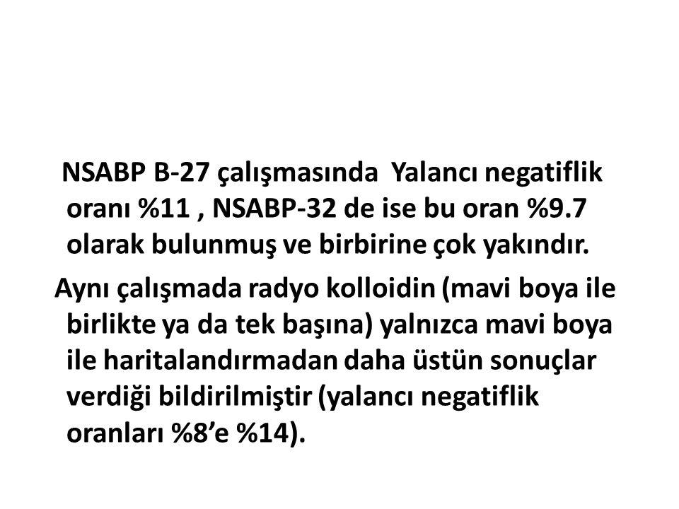 NSABP B-27 çalışmasında Yalancı negatiflik oranı %11 , NSABP-32 de ise bu oran %9.7 olarak bulunmuş ve birbirine çok yakındır.
