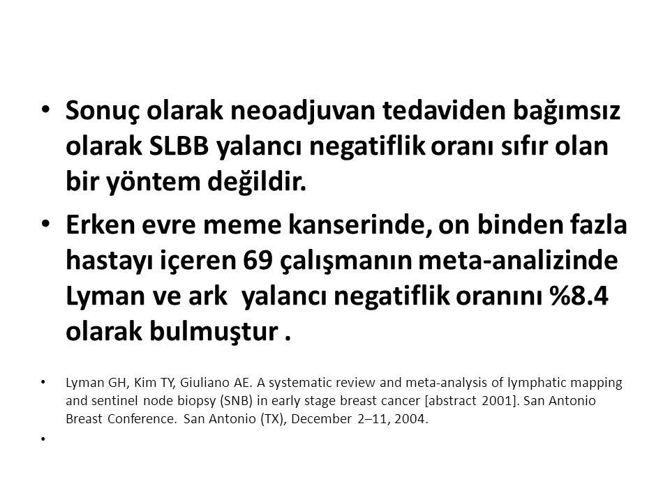 Sonuç olarak neoadjuvan tedaviden bağımsız olarak SLBB yalancı negatiflik oranı sıfır olan bir yöntem değildir.