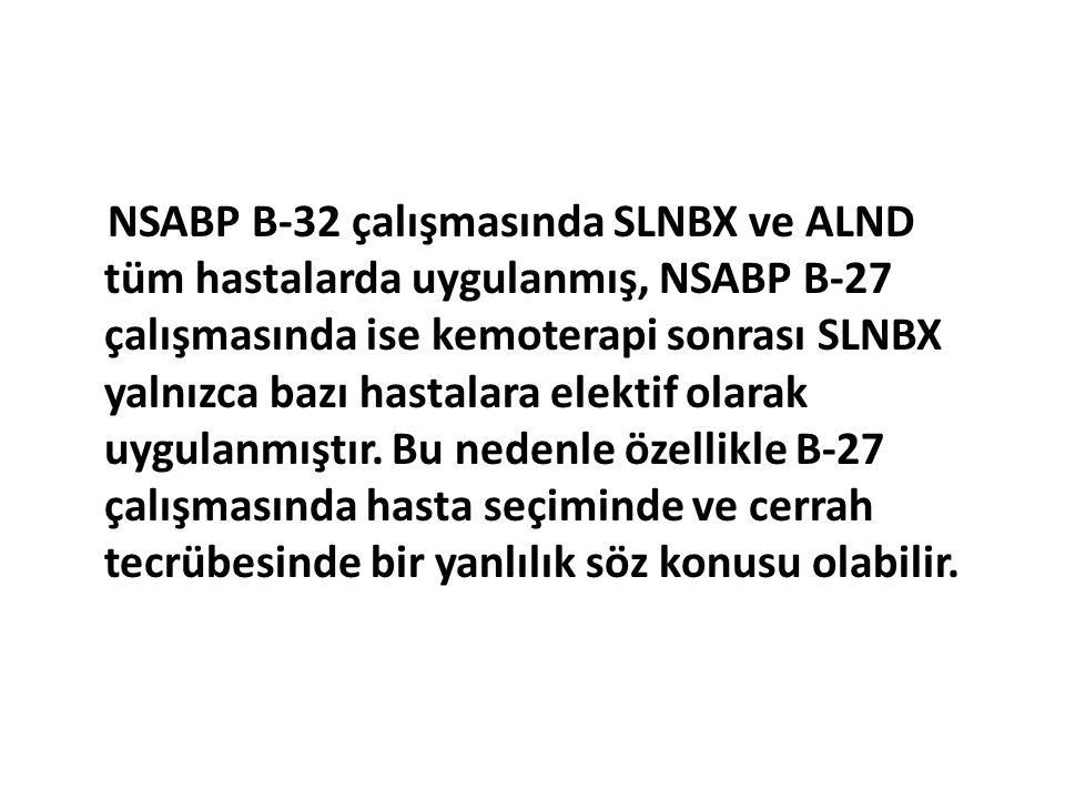 NSABP B-32 çalışmasında SLNBX ve ALND tüm hastalarda uygulanmış, NSABP B-27 çalışmasında ise kemoterapi sonrası SLNBX yalnızca bazı hastalara elektif olarak uygulanmıştır.