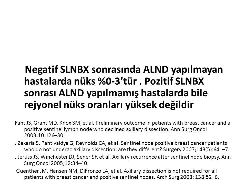 Negatif SLNBX sonrasında ALND yapılmayan hastalarda nüks %0-3'tür