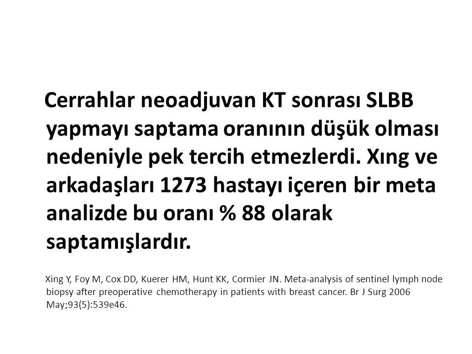 Cerrahlar neoadjuvan KT sonrası SLBB yapmayı saptama oranının düşük olması nedeniyle pek tercih etmezlerdi. Xıng ve arkadaşları 1273 hastayı içeren bir meta analizde bu oranı % 88 olarak saptamışlardır.