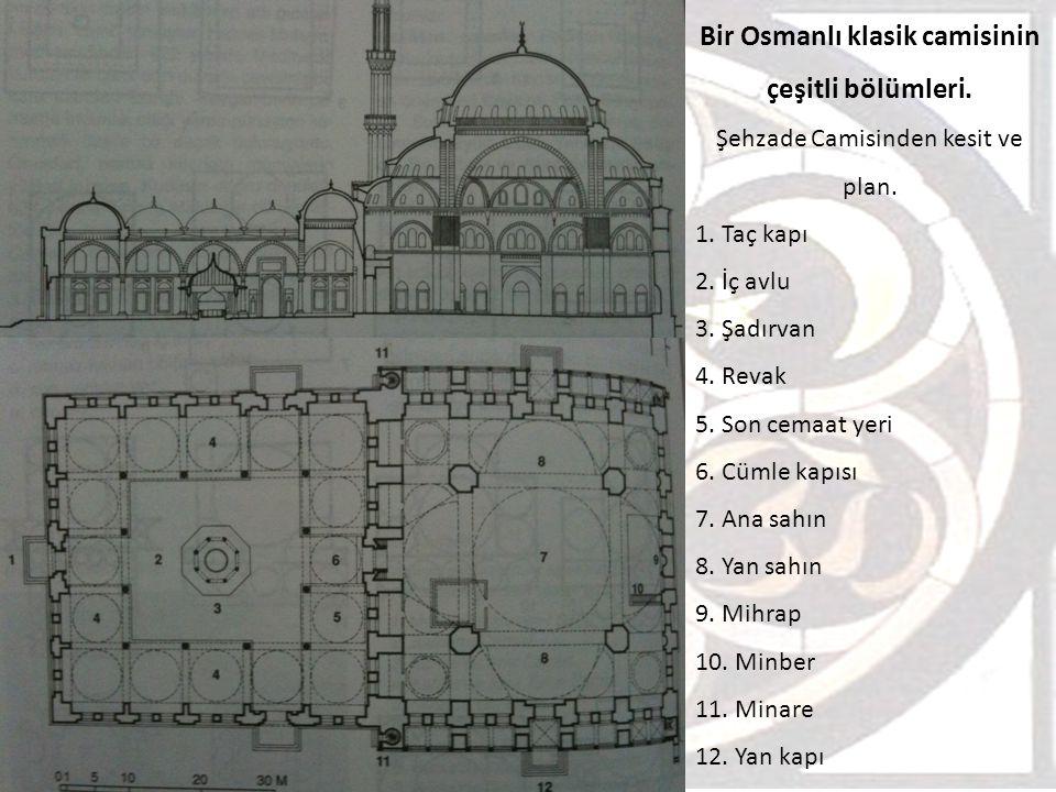 Bir Osmanlı klasik camisinin çeşitli bölümleri.