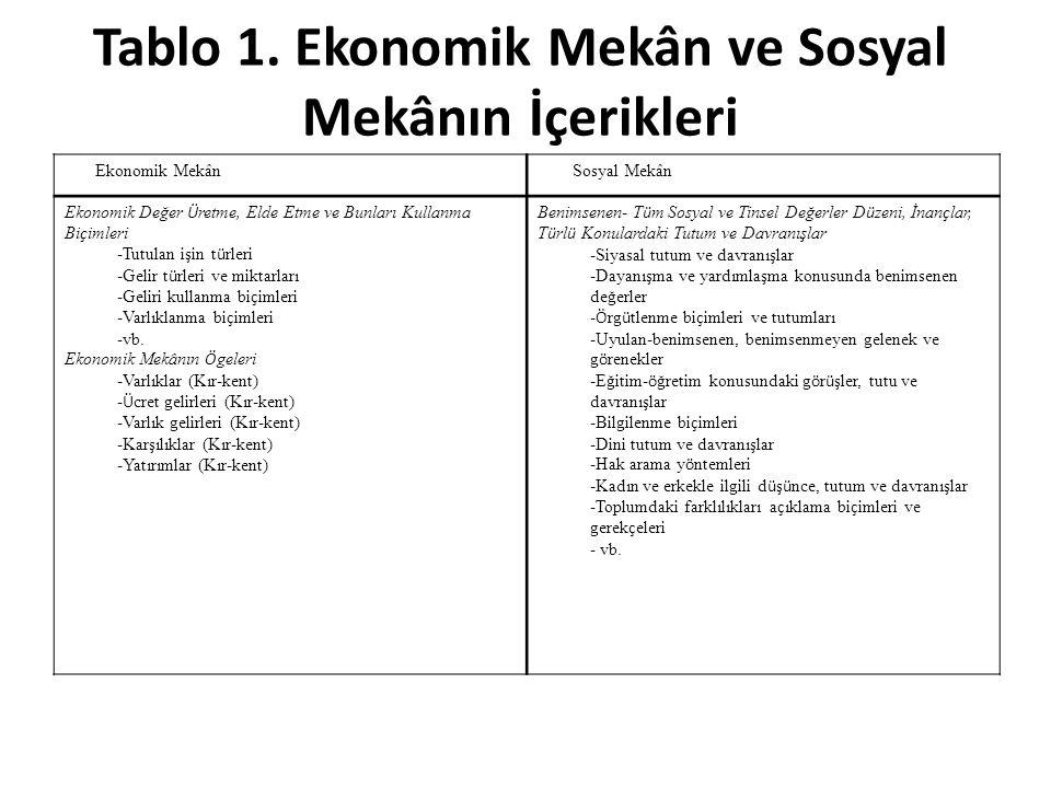 Tablo 1. Ekonomik Mekân ve Sosyal Mekânın İçerikleri
