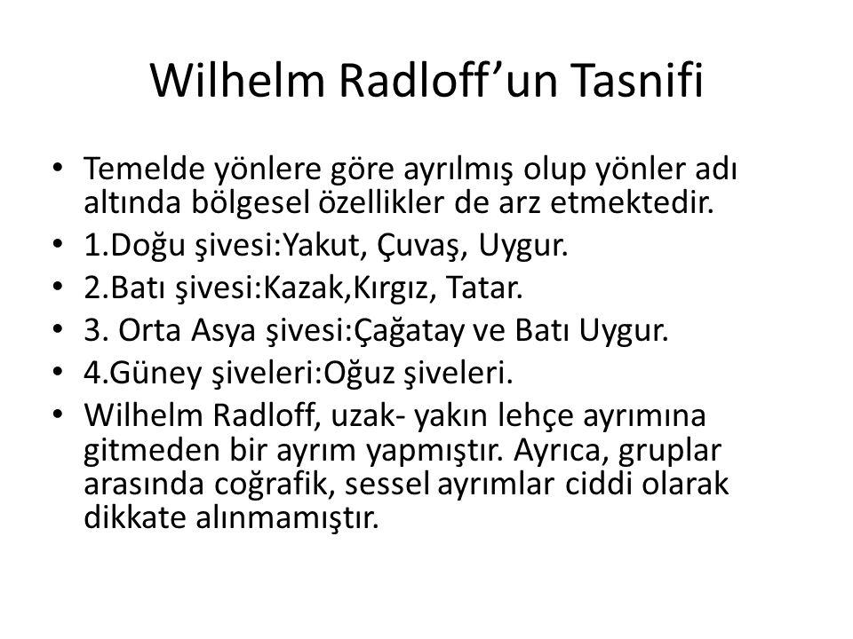 Wilhelm Radloff'un Tasnifi