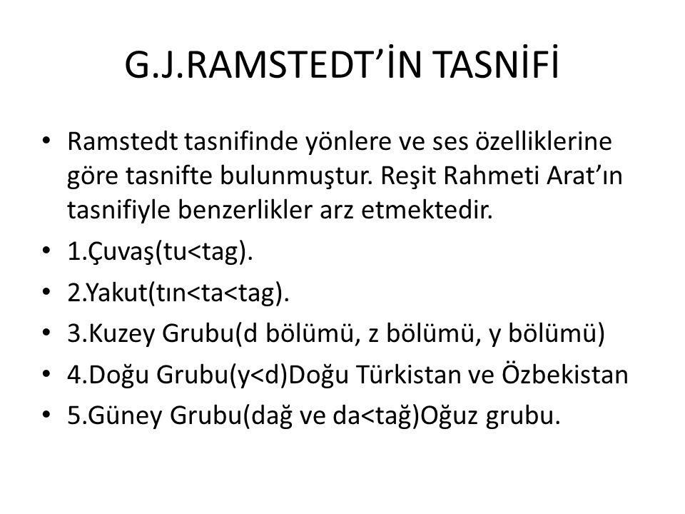 G.J.RAMSTEDT'İN TASNİFİ