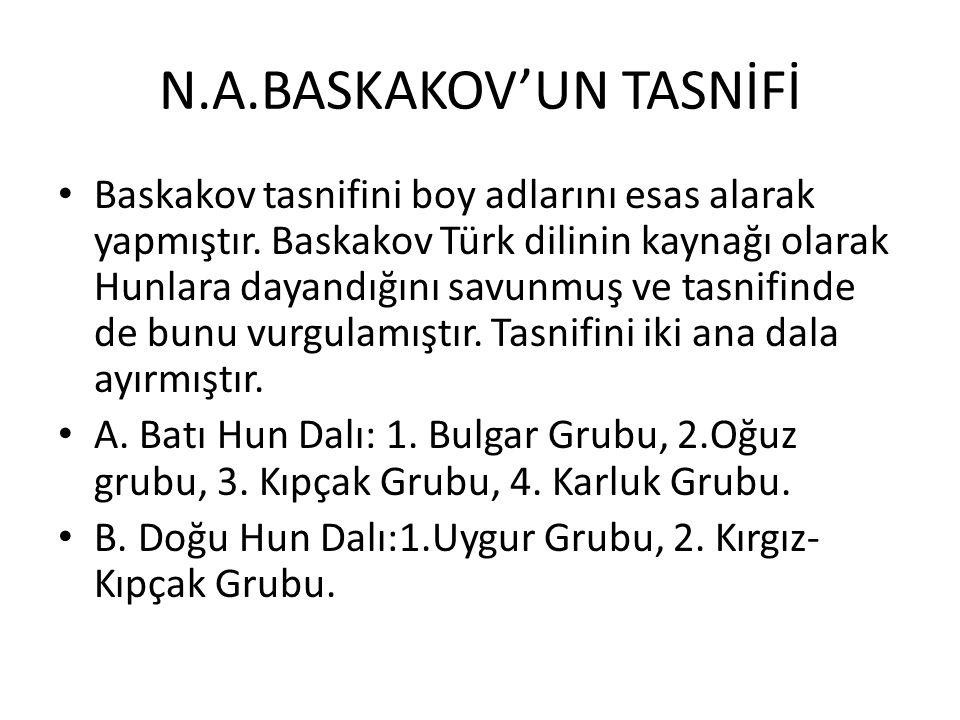 N.A.BASKAKOV'UN TASNİFİ