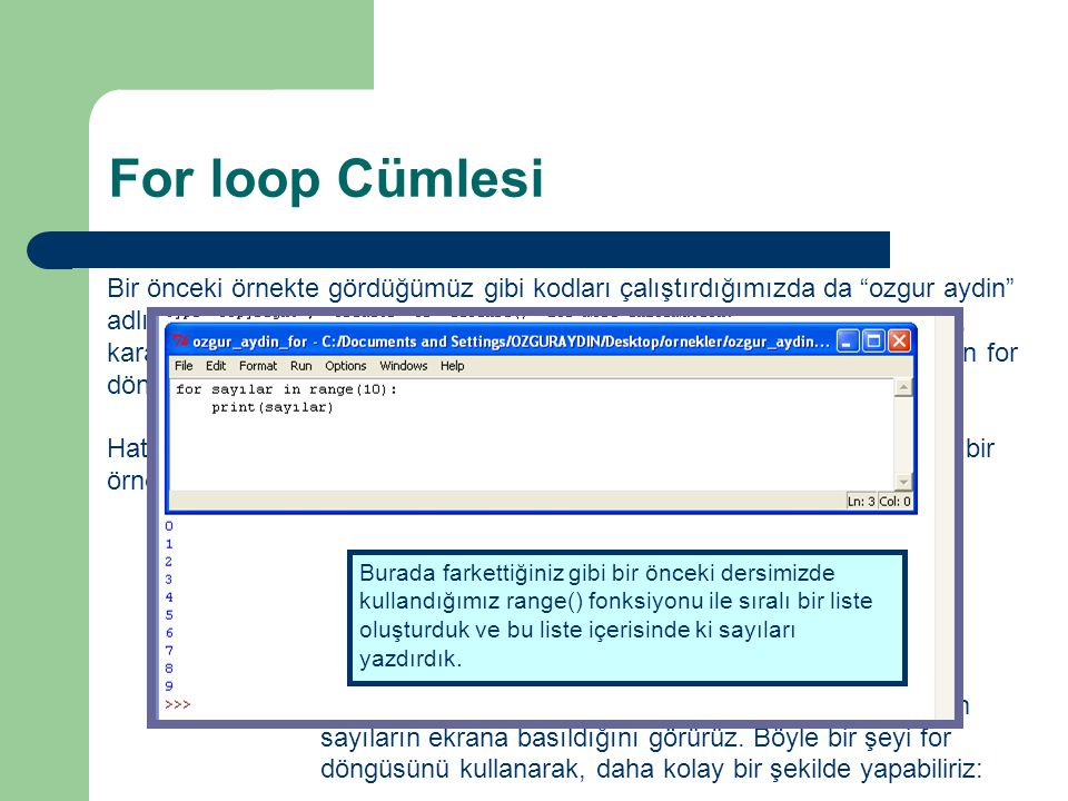 For loop Cümlesi