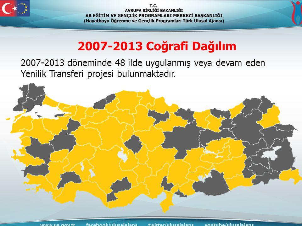2007-2013 Coğrafi Dağılım 2007-2013 döneminde 48 ilde uygulanmış veya devam eden Yenilik Transferi projesi bulunmaktadır.