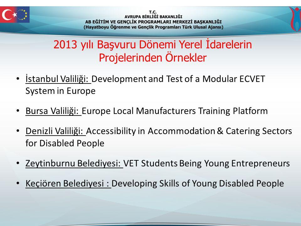 2013 yılı Başvuru Dönemi Yerel İdarelerin Projelerinden Örnekler