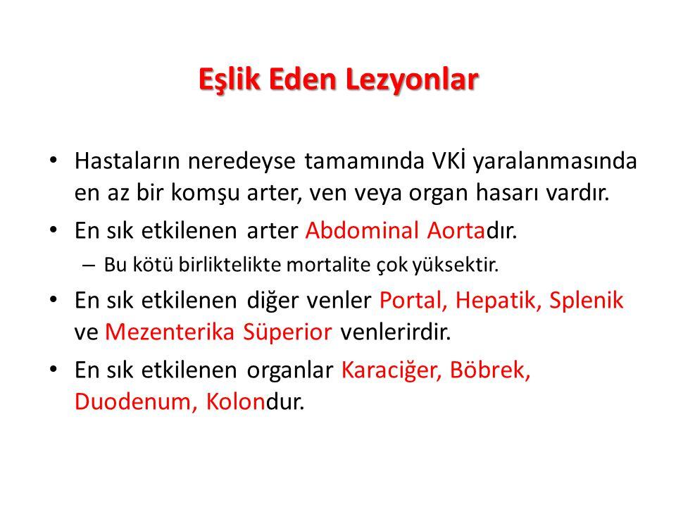 Eşlik Eden Lezyonlar Hastaların neredeyse tamamında VKİ yaralanmasında en az bir komşu arter, ven veya organ hasarı vardır.