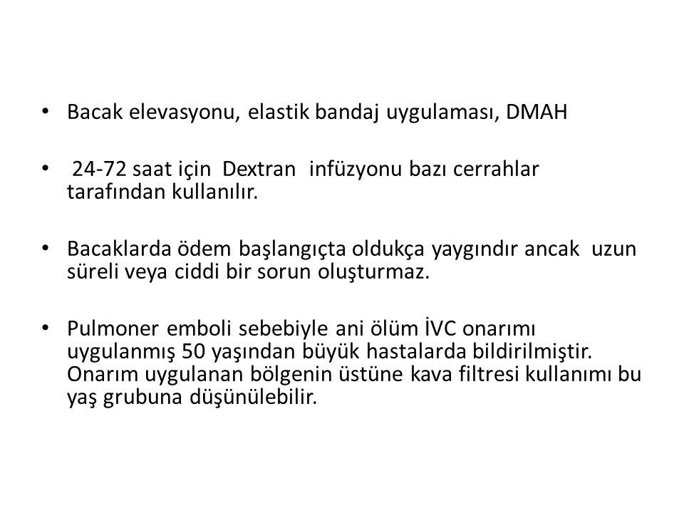 Bacak elevasyonu, elastik bandaj uygulaması, DMAH