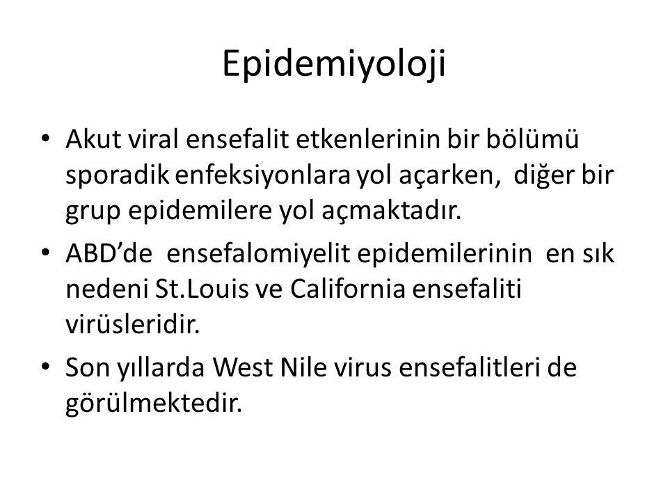 Epidemiyoloji Akut viral ensefalit etkenlerinin bir bölümü sporadik enfeksiyonlara yol açarken, diğer bir grup epidemilere yol açmaktadır.