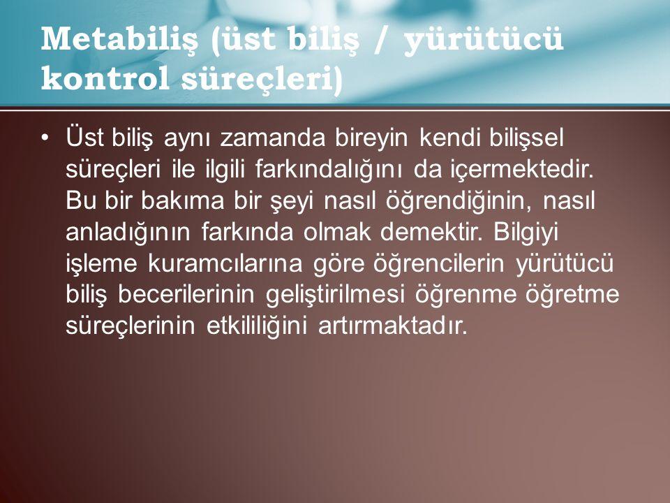 Metabiliş (üst biliş / yürütücü kontrol süreçleri)
