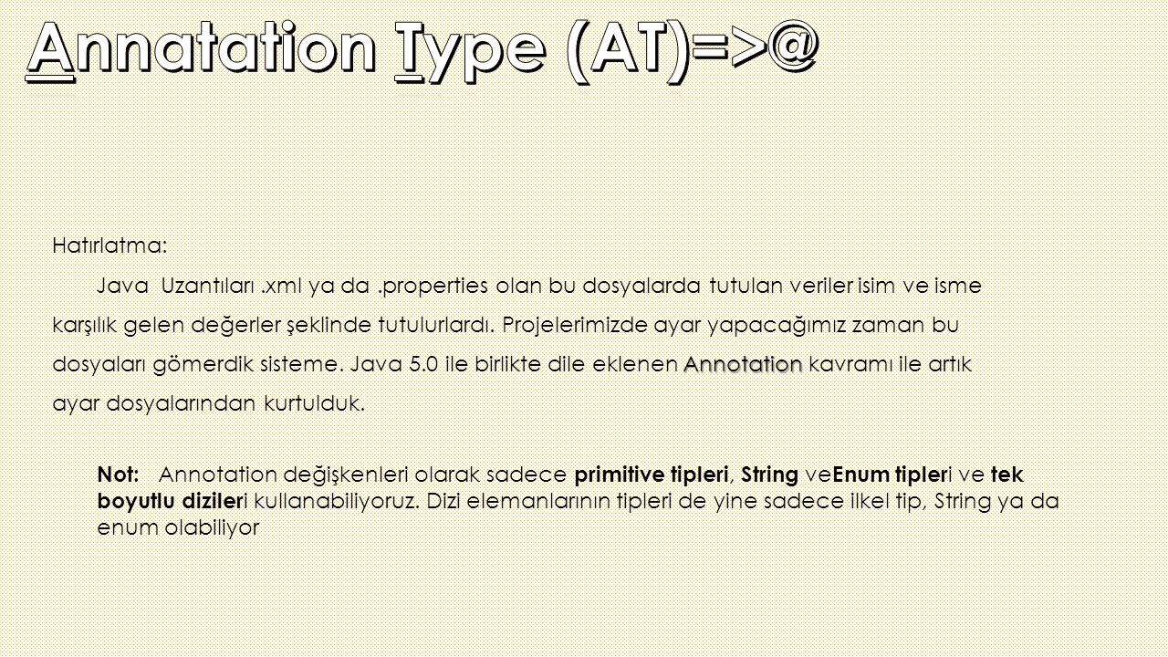 Annatation Type (AT)=>@