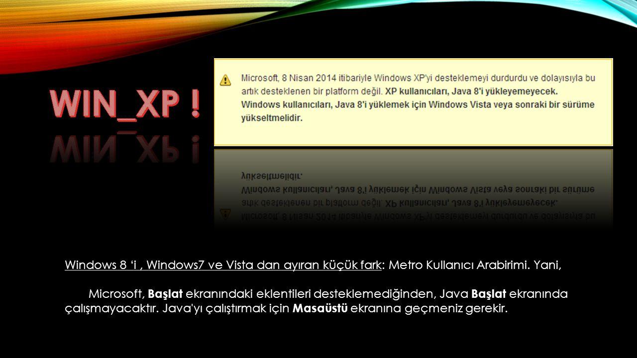 WIN_XP ! Windows 8 'i , Windows7 ve Vista dan ayıran küçük fark: Metro Kullanıcı Arabirimi. Yani,