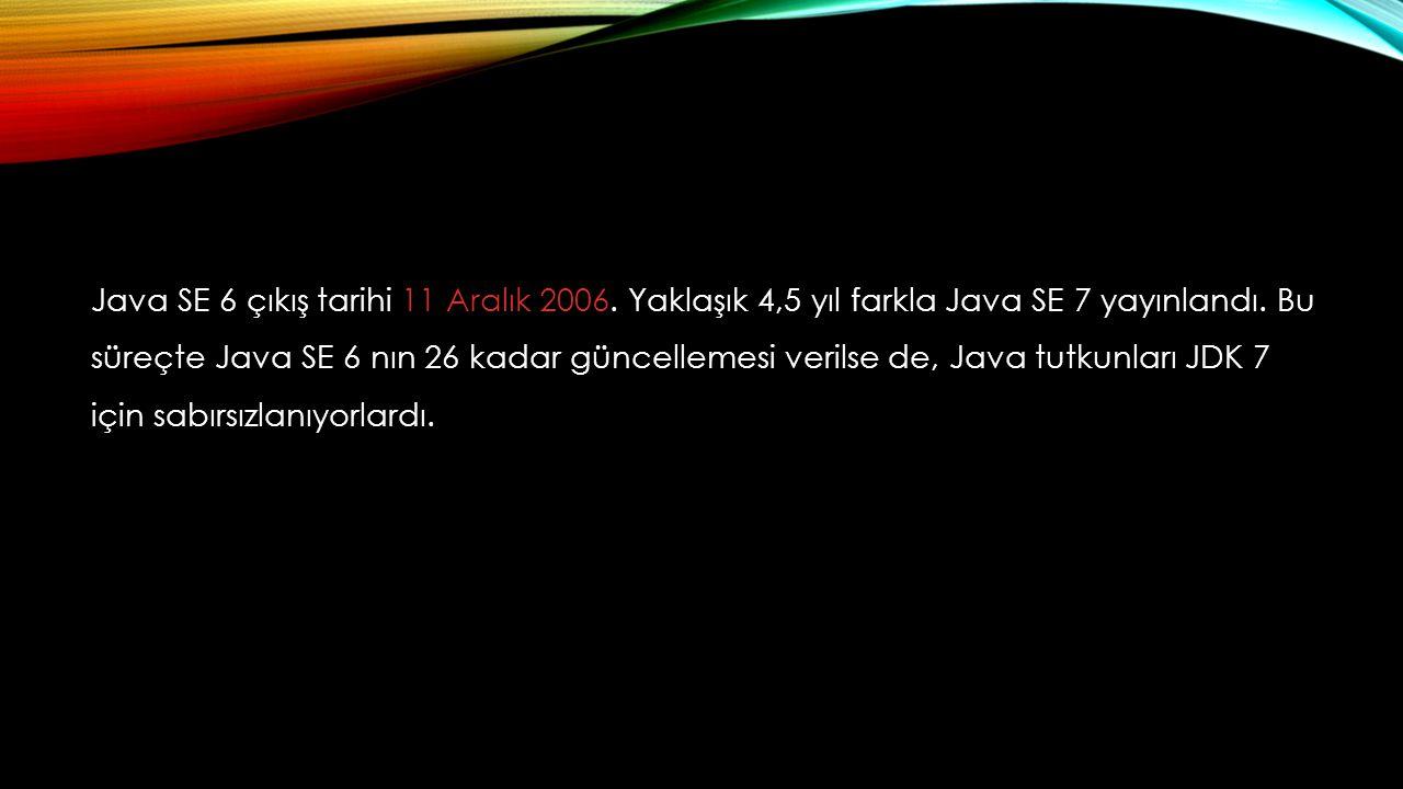 Java SE 6 çıkış tarihi 11 Aralık 2006