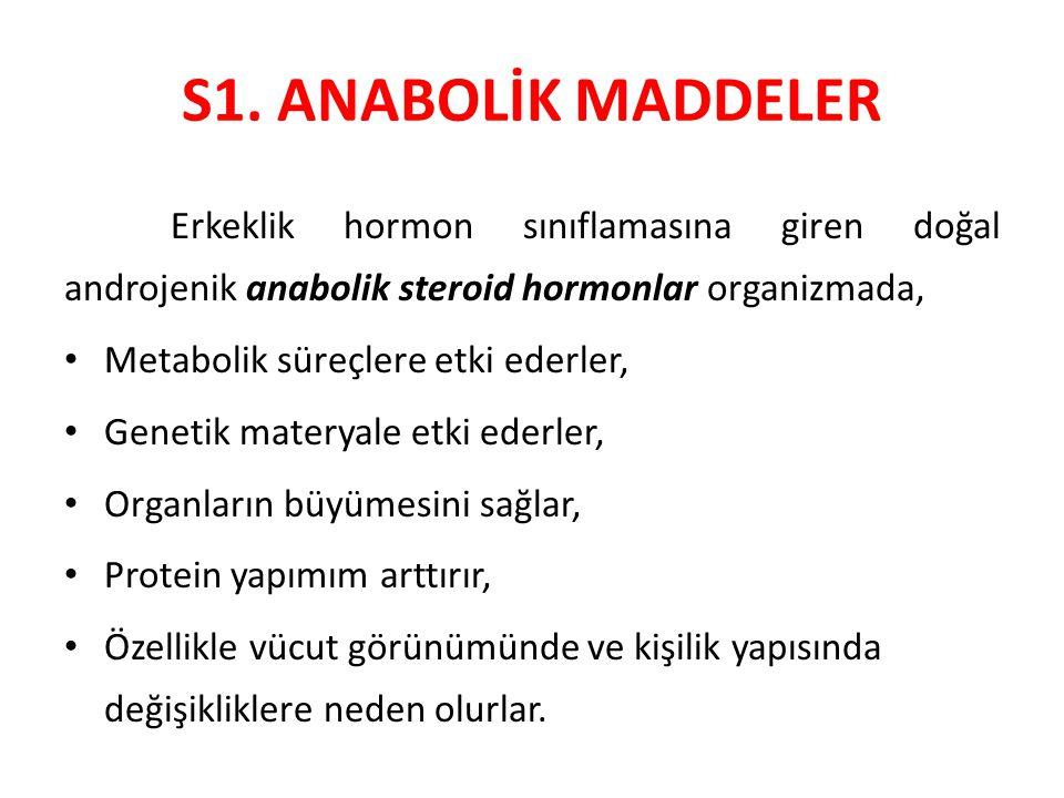 S1. ANABOLİK MADDELER Erkeklik hormon sınıflamasına giren doğal androjenik anabolik steroid hormonlar organizmada,