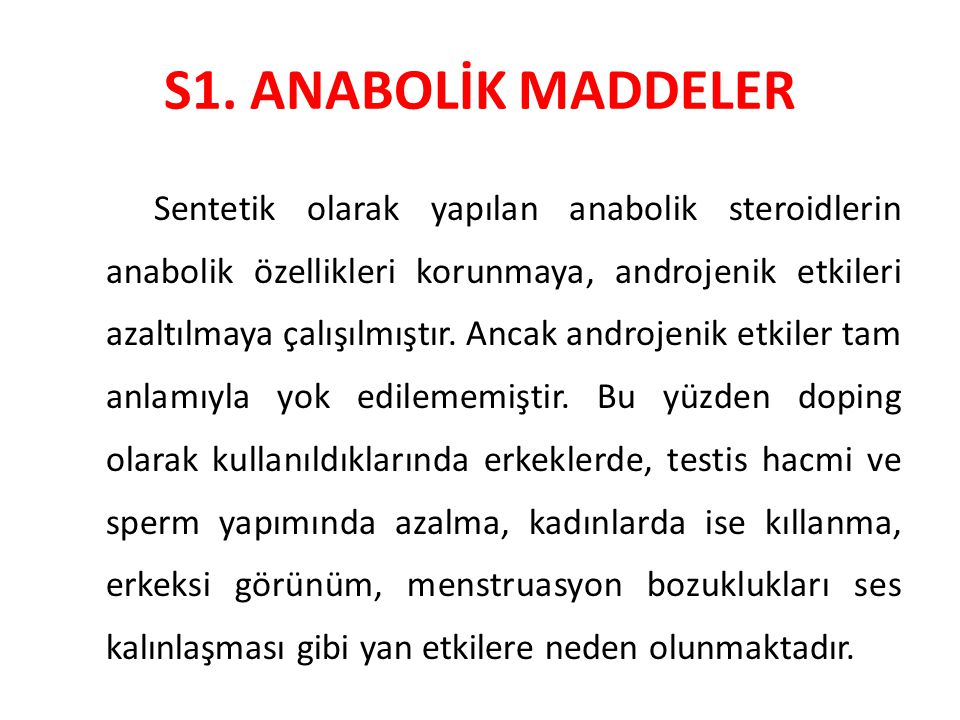 S1. ANABOLİK MADDELER