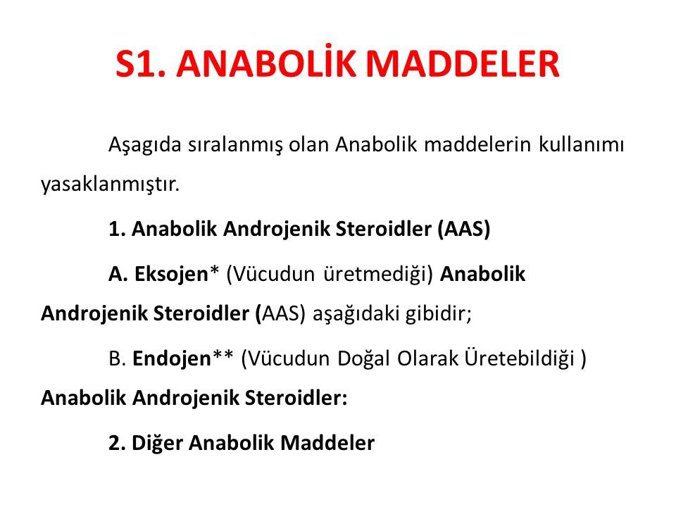 S1. ANABOLİK MADDELER Aşagıda sıralanmış olan Anabolik maddelerin kullanımı yasaklanmıştır. 1. Anabolik Androjenik Steroidler (AAS)
