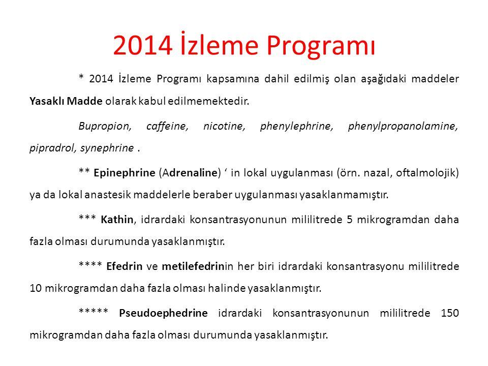 2014 İzleme Programı * 2014 İzleme Programı kapsamına dahil edilmiş olan aşağıdaki maddeler Yasaklı Madde olarak kabul edilmemektedir.