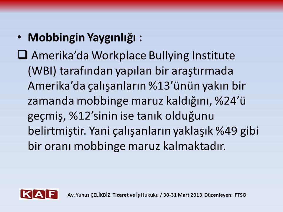 Mobbingin Yaygınlığı :