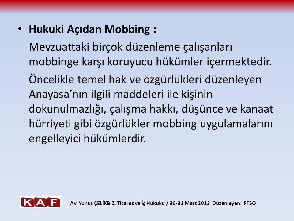 Hukuki Açıdan Mobbing :