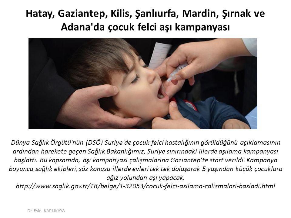 Hatay, Gaziantep, Kilis, Şanlıurfa, Mardin, Şırnak ve Adana da çocuk felci aşı kampanyası