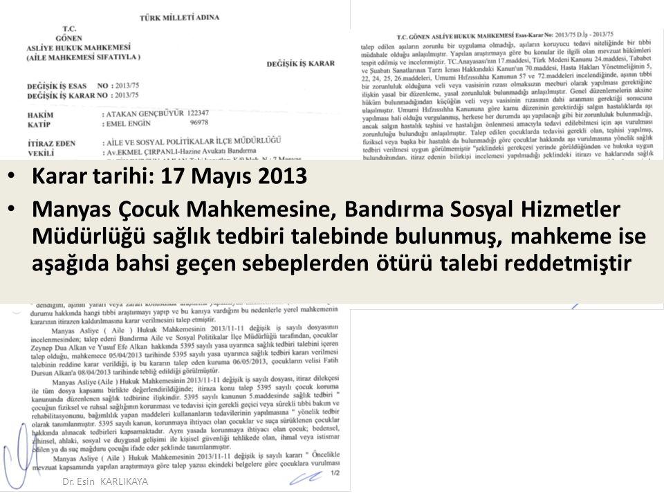 Karar tarihi: 17 Mayıs 2013